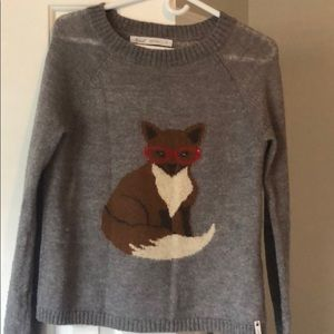 Gray woolrich fox sweater